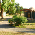 A yurt at Champoeg State Park Campground.- Champoeg State Park Campground