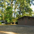 Restroom and shower facilities at Champoeg State Park Campground.- Champoeg State Park Campground