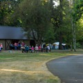 Large group/RV campsite with its own pavilion/meeting hall.- Champoeg State Park Campground