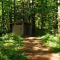 Niagara County Park vault toilet facility.- Niagara County Park