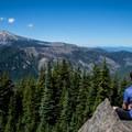 A rewarding view of Mount Hood (11,250'), Mount Adams (12,281'), and Mount Rainier in the distance (14,411').- Gunsight Ridge Trail