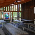 The covered picnic area at the visitor center.- Detroit Lake State Park Campground