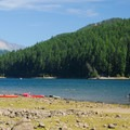 Detroit Lake and Mount Jefferson (10,495') from the campground.- Detroit Lake State Park Campground