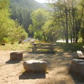 Santiam Flats Campground group campsite.- Detroit Lake, Santiam Flats Campground
