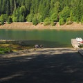 Boat ramp and a small day use marina.- Detroit Lake, Hoover Campground