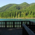 The fishing dock at Hoover Campground.- Detroit Lake, Hoover Campground