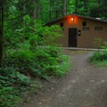 The restroom facility at Hoover Campground.- Detroit Lake, Hoover Campground