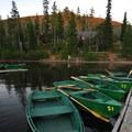 Olallie Lake Resort marina w/ rental row boats.- Olallie Lake Resort