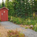 Typical 'outhouse' provided for each of the cabins.- Olallie Lake Resort