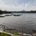 Olallie Lake and Mount Jefferson from a day-use area.- Olallie Lake Resort