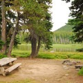 Typical campsite along the shoreline.- Breitenbush Lake Campground