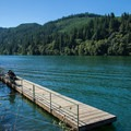 A fishing dock at the northern boat ramp on North Fork Reservoir.- North Fork Reservoir