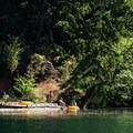 The fishing dock at Promontory Point Campground.- North Fork Reservoir