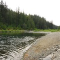 The Clackamas River from the group campsite.- Riverford Campground