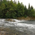 The confluence of Clackamas River and the Collawash River from campground.- Riverford Campground