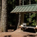 Outdoor kitchen area.- Promontory Park Campground