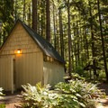 Bathrooms and shower facilities.- Promontory Park Campground
