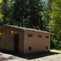 Broken Bowl has plumbed restrooms.- Broken Bowl Campground