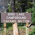 The entrance to Bird Lake Campground.- Bird Lake Campground