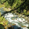 The first view of the river is a rock garden below the basalt chasm.- Rogue Gorge