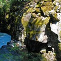 A view down the river chasm from the narrowest point.- Rogue Gorge
