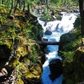 A view upstream to the magnificent main falls.- Rogue Gorge