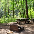 A site with a large fire pit and picnic tables.- Toketee Lake Campground
