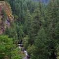 The North Umpqua River gorge above the falls.- Toketee Falls