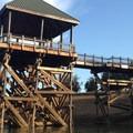 Reservoir levels drop late season leaving the fishing platform in Area C exposed.- Henry Hagg Lake Canoe/Kayak