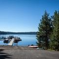 The boat ramp and marina at Crescent Lake Resort.- Crescent Lake Resort