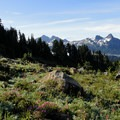 The Tatoosh Range: Unicorn (7,709'), The Castle (6,640'), Pinnacle (6,562'), and Plumber (6,370') Peaks.- Mount Rainier: Disappointment Cleaver Route