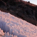 Ice formations in the crater.- Mount Rainier: Disappointment Cleaver Route