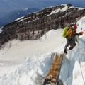 Ladder bridge above the Cleaver.- Mount Rainier: Disappointment Cleaver Route