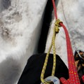 A small crevasse typical of the route.- Mount Rainier: Disappointment Cleaver Route