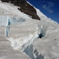 Ingraham Glacier crevasses and basecamp.- Mount Rainier: Disappointment Cleaver Route