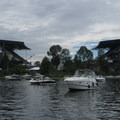 Boat-up tailgating at the Husky's Stadium.- Lake Union