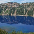 A view of Fumarole Bay just before summiting Wizard Island.- Wizard Island Summit Trail