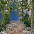 It's a steep scramble over loose rocks down to the water's edge.- Wizard Island Summit Trail