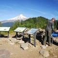 Bonney Butte's summit (5,590') with HawkWatch International interpretive boards.- Bonney Butte