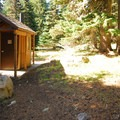 The vault toilet facility in Bonney Meadows Forest Camp.- Bonney Meadows Forest Camp
