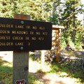 The trailhead at the campground with access to Boulder Lake.- Bonney Meadows Forest Camp