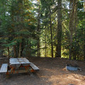 One of four sites with picnic tables at Barlow Crossing Campground.- Barlow Crossing Campground + Campsites