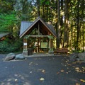 Cascade Streamwatch trailhead and restroom facilities.- Wildwood Recreation Site