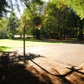 One of two basketball courts in the group picnic area at Wildwood Recreation Site.- Wildwood Recreation Site