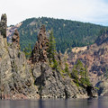Phantom Ship is as tall as a 16-story building and is the oldest exposed rock in the caldera.- Crater Lake Boat Tour
