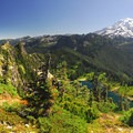 Panoramic view of Mount Rainier (14,411') and Eunice Lake from Tolmie Peak's summit.- Tolmie Peak Hike