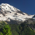 Mount Rainier (14,411') from Eagle Cliff viewpoint.- Spray Waterfall + Spray Park Hike