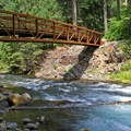 Built in 2010, the bridge across the North Umpqua River facilitates much easier access to the hot springs.- Umpqua Hot Springs