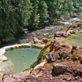 A view downstream from the line of terraced pools.- Umpqua Hot Springs