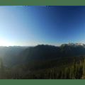 Mount Rainier (14,411') at sunrise from Sunrise Point.- Sunrise Point